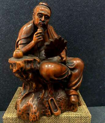Collectable China Old Boxwood Hand-Carved Genial Old Men Drink Tea Unique Statue