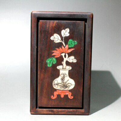 Collect China Boxwood Color Shells Carve Flowers Delicate Beautiful Storage Box