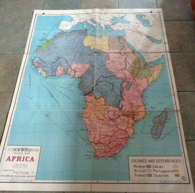 Vintage Canvas-Backed School Map of Africa   American Geographical Institute