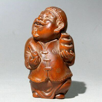 Collectable Chinese Old Boxwood Hand-Carved Landlord Delicate Auspiciosu Statue