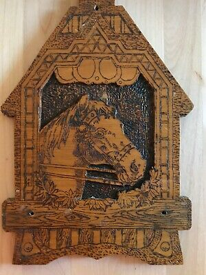 "Horse in Stable Vintage Equestrian Antique Flemish Pyrography Plaque 11"" Tall"