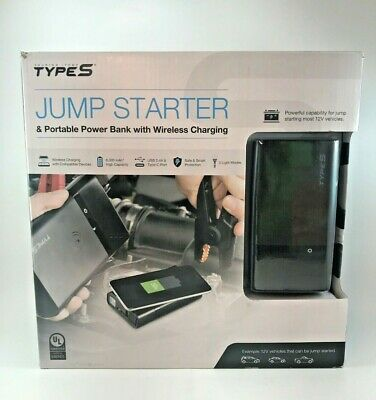 Type S Lithium Jump Starter & Portable Power Bank with Wireless Charging, Black