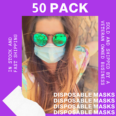 50 PCS Face Mask Disposable 3-Ply Earloop Mouth Cover