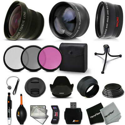 Xtech Kit for Canon EOS 8000D Superb 58mm FishEye Lens w/ 2X + Wide + MORE!