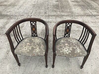 Pair Of Edwardian Inlaid Tub Chairs With Tappered Spade Feet