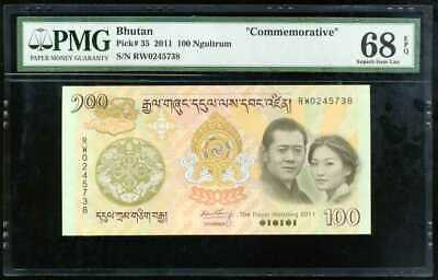 Bhutan 100 Ngultrum 2011 Comm. Wedding P 35 Superb Gem Unc Pmg 68 Epq Highest
