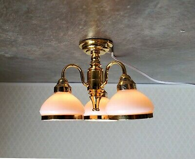 Dollhouse Miniature Chandelier 3 Arm Down White Shades Electric 1:12 Scale 12v
