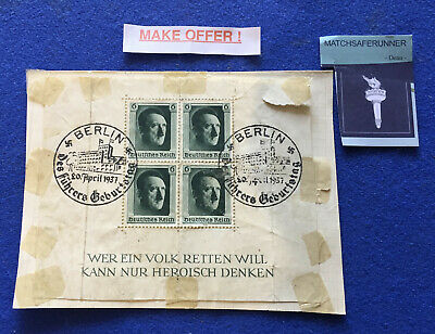 Block Of X4 Hitler Birthday German Stamps Dated 20 April 1937 And Franked Berlin