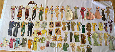 Vintage Paper Dolls Tyrone Power Lana Turner & More w/Clothes 1930-40's Vintage
