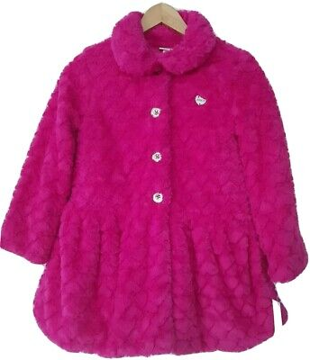 Juicy Couture Girl Faux Fur pink heart Jacket Coat Size 11 12 years NWT