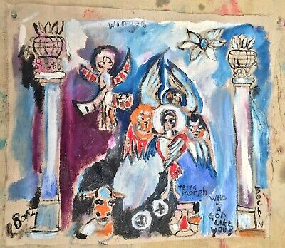 "ANGELS & Pillars Primitive Outsider Rural Oil Canvas 19x16""Folk Art"