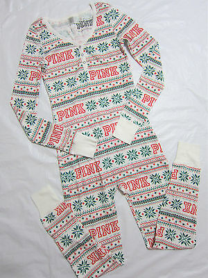 Victoria Secret Pink SNOWFLAKE THERMAL WAFFLE LONG JANE ONE PIECE PAJAMA L LARGE