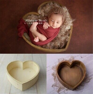 Wooden Heart Newborn Baby Photo Props XMAS Photography Bed Cot    U