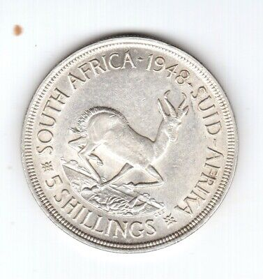 1948 High Grade Ch Au/Unc South Africa 5 Shillings Silver Crown