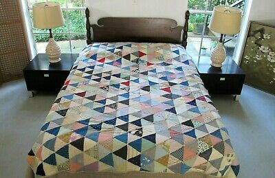 """NEEDS SOME TLC: Vintage Feed Sack Hand Pieced 1000 PYRAMIDS Tied Quilt 84"""" x 70"""""""