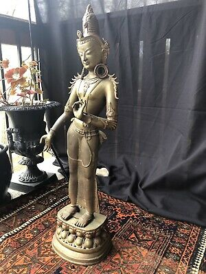 "Indian Bronze of Standing Avalokiteshvara 36"" Tall"