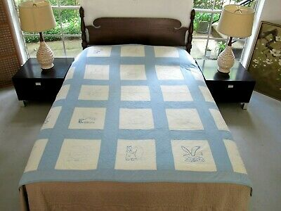 FULL Vintage All Cotton Hand EMBROIDERED & Wineglass Quilted MANY BIRDS Quilt