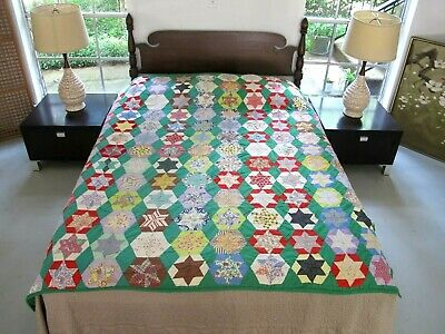 """COLORFUL Vintage Feed Sack Hand Pieced & Quilted HEXAGONAL STAR Quilt; 76"""" x 70"""""""