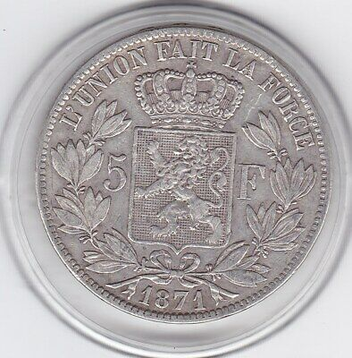 Belgium   1871   King   Leopold  II   Large  5 Franc -   Silver  (90%)  Coin