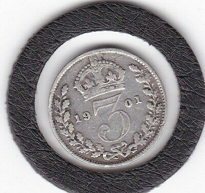 Older  Head  1901   Queen  Victoria  Threepence  (3d)  Silver (92.5%) Coin