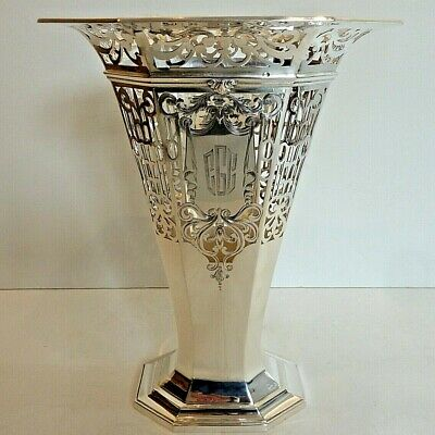 Deco/Classical Whiting 11 Inch Tall Sterling Vase W/ Elaborate Piercing, 1915