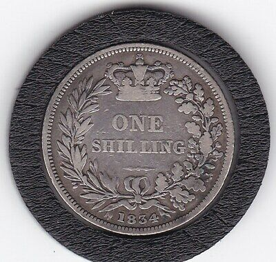 1834   King   William    IV   Sterling  Silver  Shilling  British Coin
