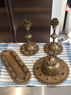 Victorian English Engraved Bronze Brass Banded Agate Ink Well Desk Set