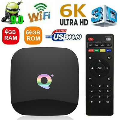 TV BOX ANDROID 9.0 Q PLUS 4GB RAM 64GB 6K SMART TV 2.4G WiFi HD 1080P IPTV D0K0