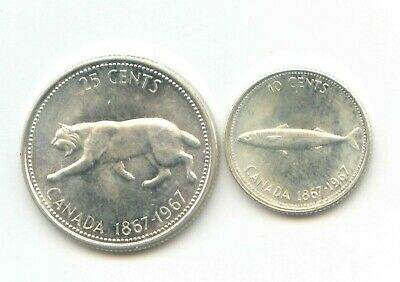 Canada 1867 - 1967 Silver Quarter + Dime Canadian 25c Ag EXACT SET SHOWN