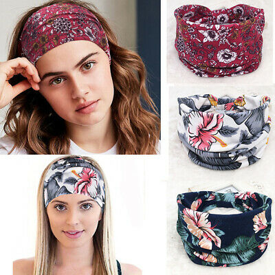 BOHO Wide Cotton Stretch Headband Turban Women Yoga Knotted Hairband Wrap New