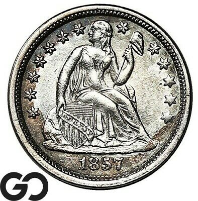 1857 Seated Liberty Dime, Collector Coin Silver 10c
