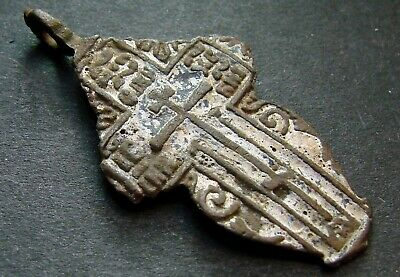 ANCIENT BRONZE ENAMEL CROSS. RELIGIOUS ARTIFACT 17 - 18 CENTURY. 38 mm. (S.054)