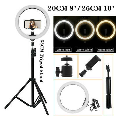 "10"" LED Ring Light Tripod Stand Kit Dimmable Photo Studio Phone Live Lamp ≛ US ⑤"