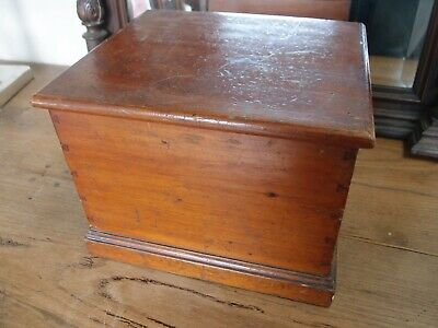 Small Antique Victorian Pine Trunk Box With Original Stained Finish