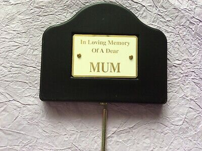 Mum Graveside Memorial black with gold letters, Remembrance Black Stake Cemetery