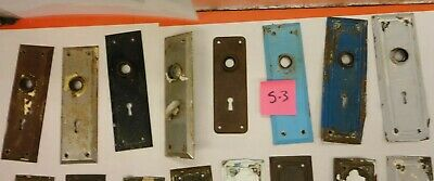 8 Antique Vintage Metal Door Plates Hardware Key Hole - Architectural Salvage