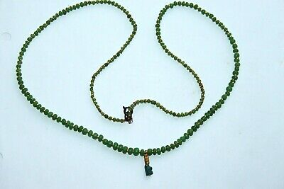 ANCIENT EGYPTIAN RESTRUNG GREEN STONE/GOLD BEAD NECKLACE 30th Dyn 380 BC