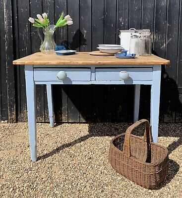 Rustic Victorian Pine & Blue Part Painted Two Drawer Kitchen Scullery Table