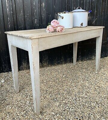 Rustic Narrow Victorian Pine Kitchen Scullery Table