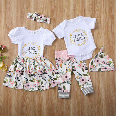 Baby Girls Matching Outfits Romper Tops Pants Skirts Dress Little Big Sister UK
