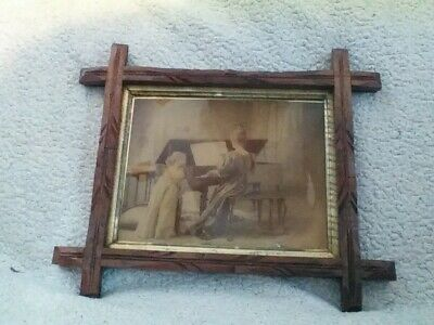 Vintage picture, lady, piano, child, beautiful wooden frame,very old