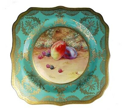 Superb Rare Antique Royal Doulton Gold Jewels Green Hand Painted Cabinet Plate!
