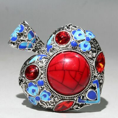 Collectable Chinese Miao Silver Cloisonne Agate Handwork Carve Beautiful Pendant