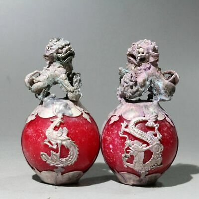 Collect China A Pair Of Miao Silver Armor Jade Hand-Carved Phoenix & Lion Statue