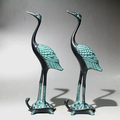 Collectable Bronze Hand-Carved Crane Trample Tortoise A Pair Auspicious Statue