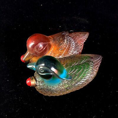 Collectable Chinese Coloured Glaze Hand-Carved Mandarin Duck Unqiue Snuff Bottle