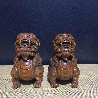 Collectable China Boxwood Hand-Carve A Pair Of Ancient  Dragon Auspicious Statue