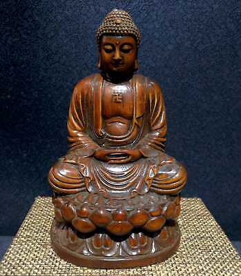 Collect China Ancient Boxwood Hand-Carve Auspicious Buddha Delicate Noble Statue