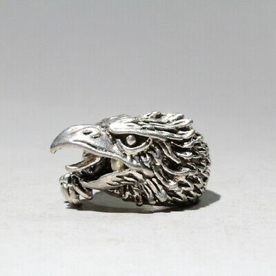 Collectable China Old Miao Silver Unique Carve Eagle Head Interesting Royal Ring