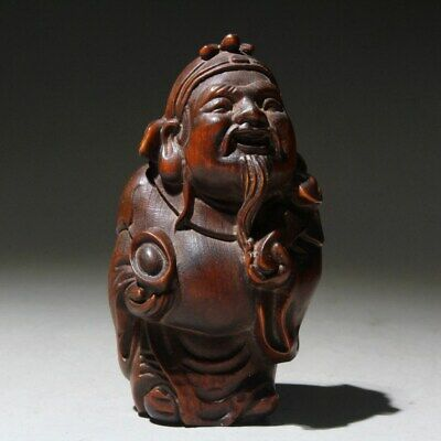 Collectable China Old Boxwood Hand-Carved God Of Wealth Bring Luck Unique Statue